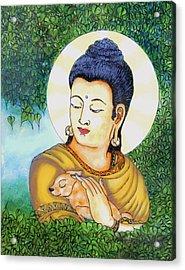 Buddha Green Acrylic Print by Loganathan E
