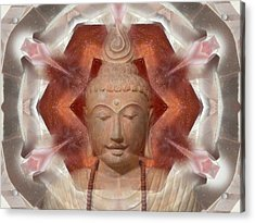 Buddha Head Crystal Mandala Acrylic Print