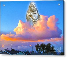 Acrylic Print featuring the painting Buddha In The Clouds Of Suburbia by Gregory Dyer