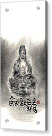 Buddha Mantras Mantra Buddhist Sumi-e Tibetan Calligraphy Original Ink Painting Artwork Acrylic Print