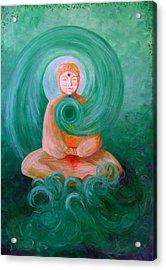 Buddha Painting Acrylic Print by Avril Whitney