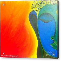 Buddha Painting Acrylic Print by Rekha Artz