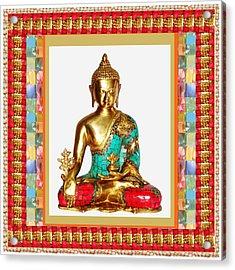 Buddha Sparkle Bronze Painted N Jewel Border Deco Navinjoshi  Rights Managed Images Graphic Design I Acrylic Print by Navin Joshi