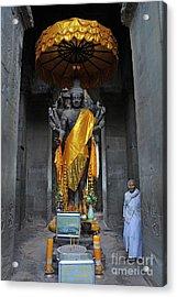 Buddha Statue At Angkor Wat Acrylic Print by Sami Sarkis