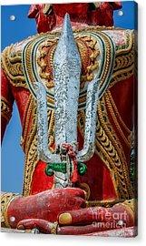 Buddha Trident Sword Acrylic Print by Adrian Evans