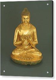 Buddha Vairocana Dari, Tang Dynasty 618-907, Early 8th Century Gilt Leaded Bronze Acrylic Print