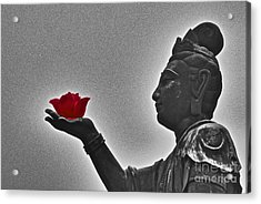 Buddha With Rose  Acrylic Print by Sarah Mullin