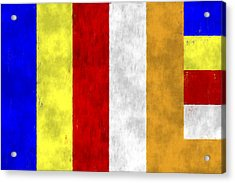 Buddhist Flag Acrylic Print by World Art Prints And Designs