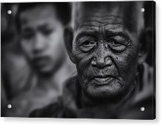 Buddhist Monk Bw1 Acrylic Print by David Longstreath