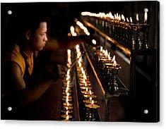 Buddhist Monk Lighting Lamps Acrylic Print