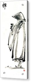 Buddhist Monk With A Bowl Zen Calligraphy Original Ink Painting Artwork Acrylic Print by Mariusz Szmerdt