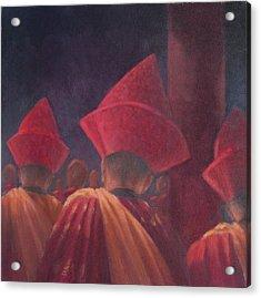 Buddhist Monks, Bhutan, 2012 Acrylic On Canvas Acrylic Print by Lincoln Seligman