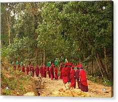 Buddhist Monks In A Losar Ceremonial Acrylic Print by Jaina Mishra