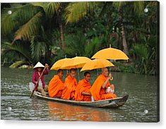 Buddhist Monks In Mekong River Acrylic Print