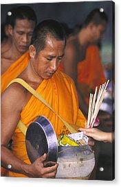 Buddhist Monks Receiving Alms Acrylic Print by Richard Berry