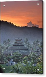 Buddhist Temple At Sunset Acrylic Print by Richard Berry