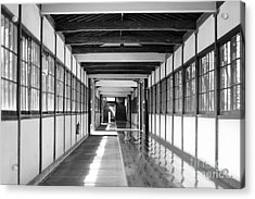 Buddhist Temple In Black And White - Passageway Acrylic Print