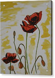 Budding Poppies Acrylic Print by Marcia Weller-Wenbert