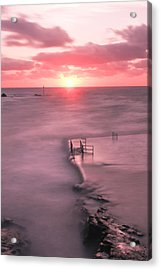 Bude Sea Pool Sunset Acrylic Print by Debra Jayne