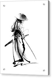 Samurai With A Sword. Ronin - Lone Wolf. Acrylic Print