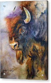 Acrylic Print featuring the painting Buffalo Business by Karen Kennedy Chatham