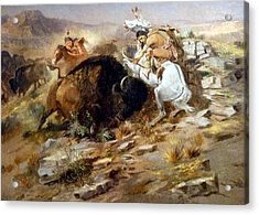 Buffalo Hunt Acrylic Print by Charles Russell