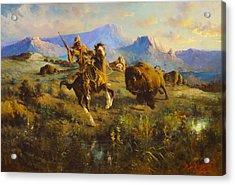 Buffalo Hunt Acrylic Print by Edgar Samuel Paxson