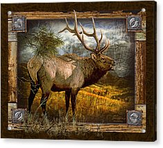 Acrylic Print featuring the painting Bugling Elk by JQ Licensing