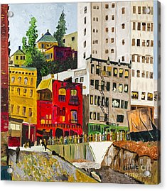 Building A City By Stan Bialick Acrylic Print by Sheldon Kralstein