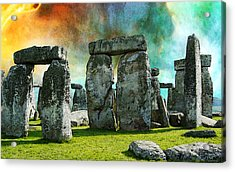 Building A Mystery - Stonehenge Art By Sharon Cummings Acrylic Print by Sharon Cummings