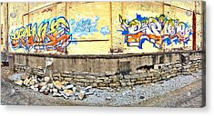 Building By The Tracks Acrylic Print by Andrew Martin