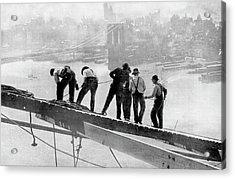 Building The Manhattan Bridge Acrylic Print by Cci Archives