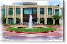 Acrylic Print featuring the digital art Building With Fountain Painting by Richard Zentner