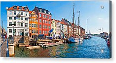 Buildings Along A Canal With Boats Acrylic Print by Panoramic Images