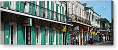 Buildings Along The Bourbon Street Acrylic Print by Panoramic Images
