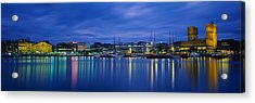 Buildings At The Waterfront, City Hall Acrylic Print by Panoramic Images