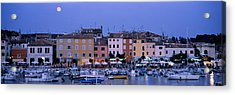Buildings, Evening, Moonrise, Rovinj Acrylic Print by Panoramic Images