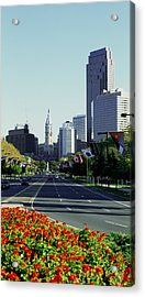 Buildings In A City, Benjamin Franklin Acrylic Print