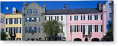 Buildings In A City, Rainbow Row Acrylic Print by Panoramic Images