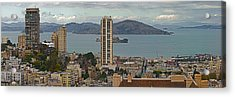 Buildings In A City With Alcatraz Acrylic Print by Panoramic Images