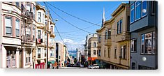 Buildings In City With Bay Bridge Acrylic Print by Panoramic Images