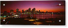 Buildings Lit Up At Night, New Orleans Acrylic Print by Panoramic Images
