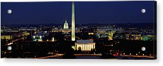 Buildings Lit Up At Night, Washington Acrylic Print by Panoramic Images