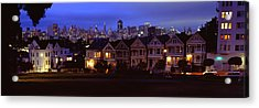 Buildings Lit Up Dusk, Alamo Square Acrylic Print by Panoramic Images