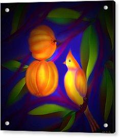 Acrylic Print featuring the digital art Bulbul Resting On A Gambooge Tree by Latha Gokuldas Panicker