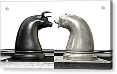 Bull And Bear Market Trend Chess Pieces Acrylic Print by Allan Swart