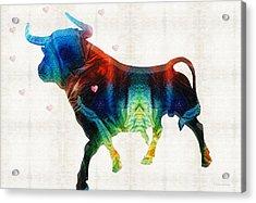 Bull Art - Love A Bull 2 - By Sharon Cummings Acrylic Print by Sharon Cummings