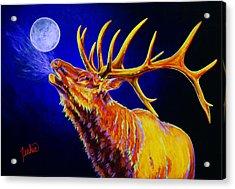Bull Moon Acrylic Print by Teshia Art