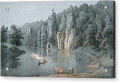 Bullard Rock On The New River Acrylic Print by Edward Beyer