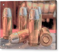 Bullet Art Hollow Point Soft Gold Acrylic Print by Lesa Fine